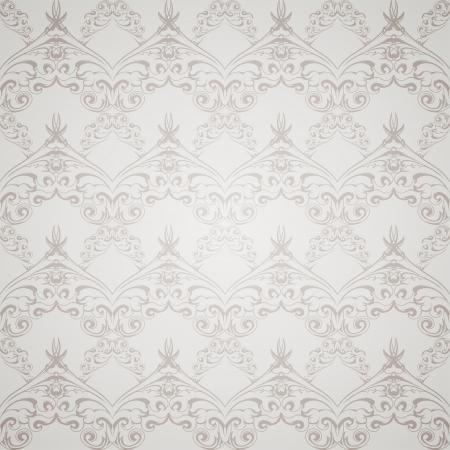 Seamless gray pattern wallpaper in Victorian style  Vector illustration  Vector