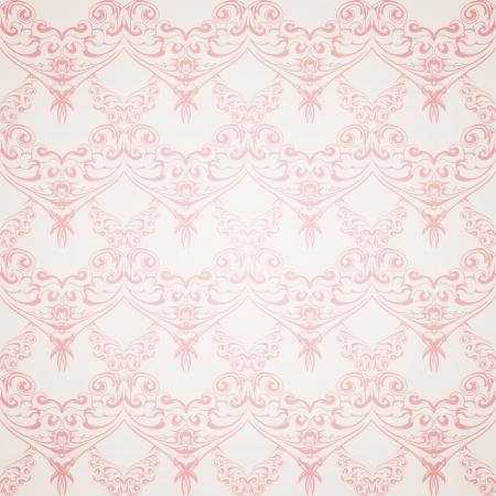 victorian wallpaper: Seamless pink pattern wallpaper in Victorian style  Vector illustration
