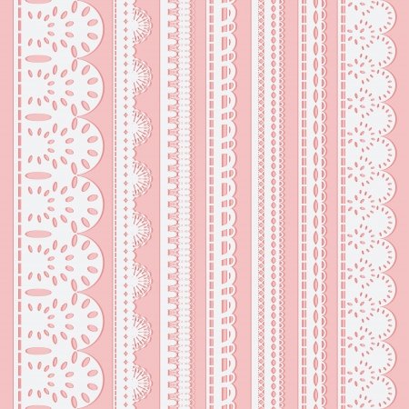 Set of seven seamless white lace ribbons isolated on a pink background  Vector illustration Vector