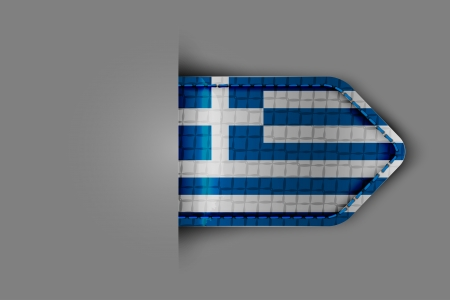 Flag of Greece in the form of a glossy textured label or bookmark. Vector illustration. Vector