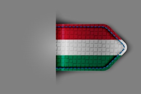 Flag of Hungary in the form of a glossy textured label or bookmark. Vector illustration. Stock Vector - 23541049