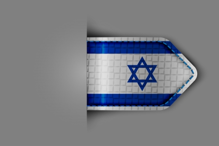 Flag of Israel in the form of a glossy textured label or bookmark. Vector illustration. Vector