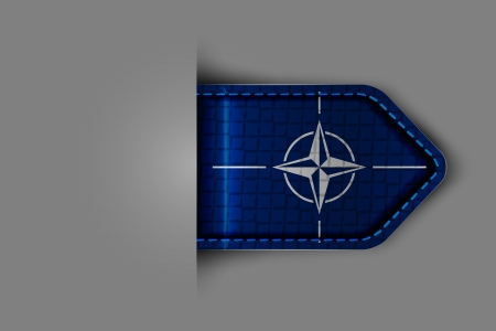 Flag of NATO in the form of a glossy textured label or bookmark. Vector illustration. Vector