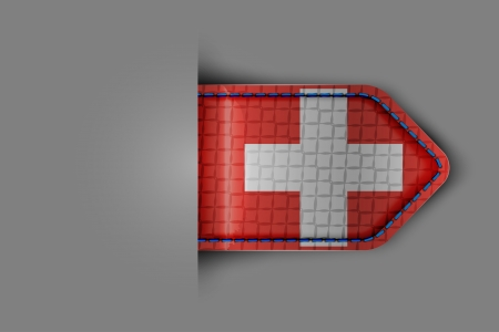 Flag of Switzerland in the form of a glossy textured label or bookmark. Vector illustration.