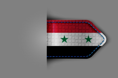Flag of Syria in the form of a glossy textured label or bookmark. Vector illustration. Vector