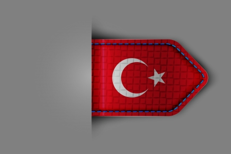 Flag of Turkey in the form of a glossy textured label or bookmark. Vector illustration. Illustration