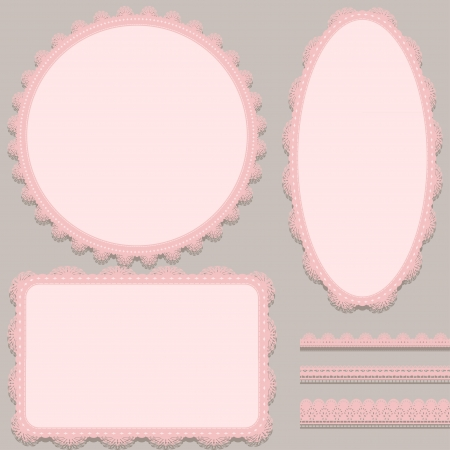 Set of vintage lace frames and lace ribbons. Vector illustration Vector