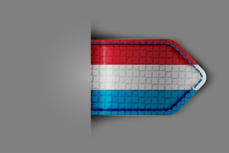 Flag of Luxembourg in the form of a glossy textured label or bookmark  Vector illustration  Vector
