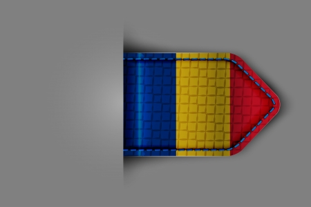 Flag of Romania in the form of a glossy textured label or bookmark  Vector illustration  Vector