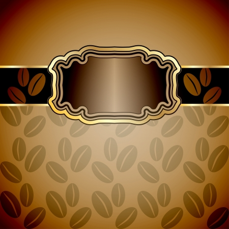 Vintage background with coffee beans  Vector illustration  Vector