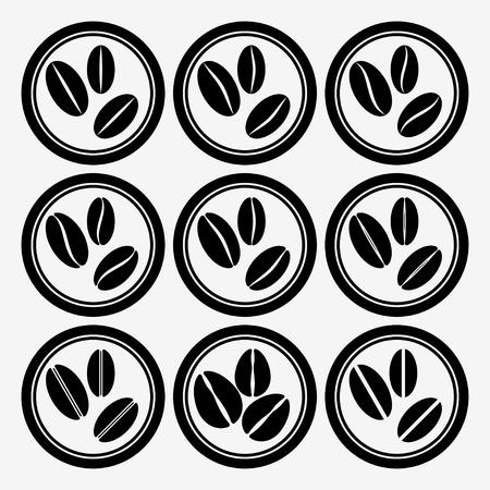 coffee beans: Conjunto de iconos redonda con los granos de caf�