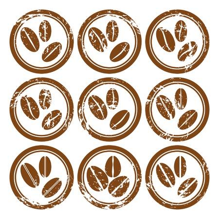coffee beans: Conjunto de iconos de la vendimia con la ilustraci�n de los granos de caf� Vector