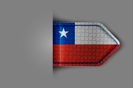 Flag of Chile in the form of a glossy textured label or bookmark. Vector illustration. Vector