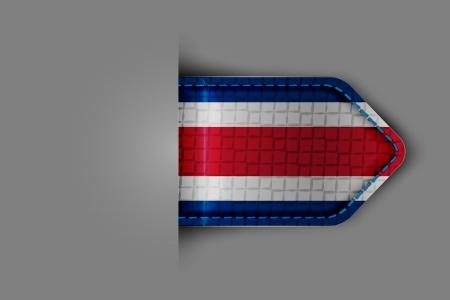 rican: Bandera de Costa Rica en la forma de una etiqueta de textura brillante o marcador. Ilustraci�n del vector.