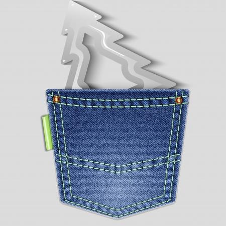 back pocket: Denim Christmas background. Christmas tree in the back pocket. Vector illustration. Illustration