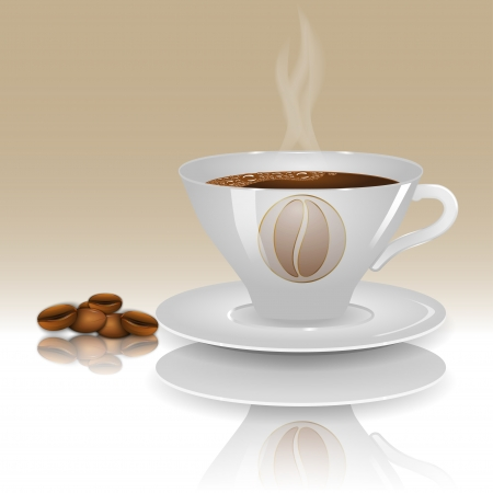 stilllife: A cup of hot coffee on a beige background with realistic coffee beans. Vector illustration. Illustration