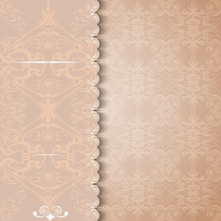 Vintage invitation or greeting card with a lace background. Vector illustration. Vector