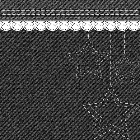 Denim Christmas background with embroidery and lace  Vector illustration  Vector