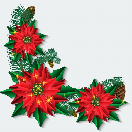 Christmas background with poinsettia flowers and fir branches  Vector illustration  Vector