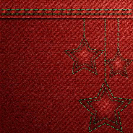 Red denim Christmas background with embroidery  Vector illustration  Vector