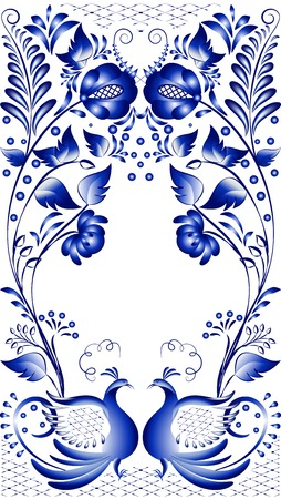 Blue floral pattern in gzhel style  Russian national ornament with the birds at the bottom  Vector illustration  Vector