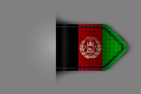 Flag of Afghanistan in the form of a glossy textured label or bookmark  Vector illustration  Vector
