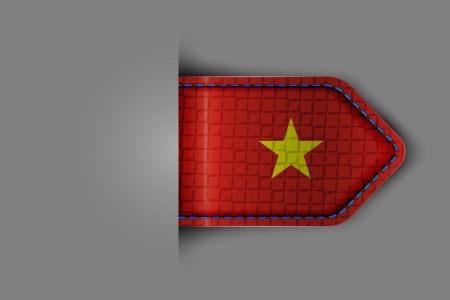 Flag of Vietnam in the form of a glossy textured label or bookmark  Vector illustration  Vector