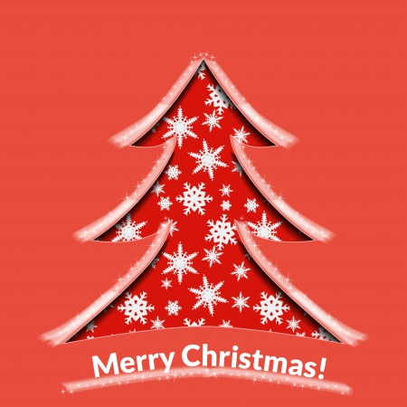 Christmas background or greeting card  Red paper tree with snow  Vector illustration  Vector