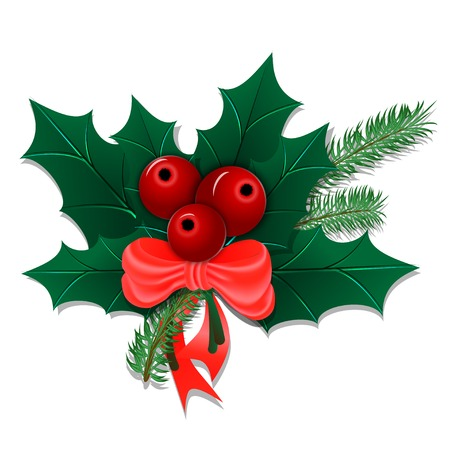 holly leaves: Christmas bouquet with holly leaves and berries with a bow isolated on white. Vector illustration. Illustration
