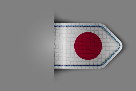 Flag of Japan in the form of a glossy textured label or bookmark. Vector illustration. Illustration