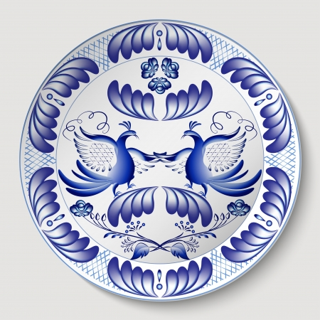 Russian national round floral pattern with birds. Blue floral pattern in gzhel style applied to the ceramic plate. Vector illustration.