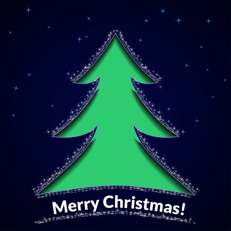Christmas background or greeting card. Stencil tree on a blue star background. Vector illustration. Vector