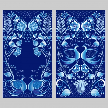 Blue floral pattern in gzhel style. Two russian national ornaments with birds. Vector illustration.