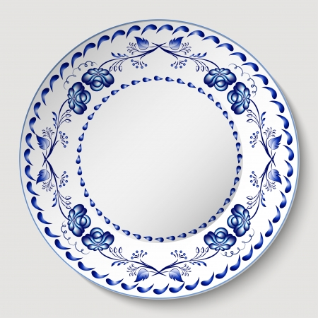 Blue floral pattern in gzhel style applied to the ceramic plate illustration  Vector