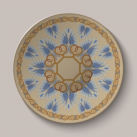 Dish with an ornament in the ancient Greek style  Vector illustration  Vector