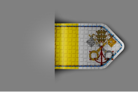 Flag of Vatican in the form of a glossy textured label or bookmark illustration  Vector