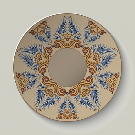 Plate with an ornament in the ancient Greek style  illustration  Vector