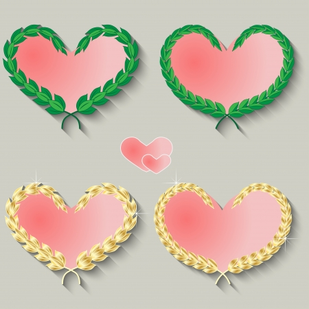 Set of cute hearts on a gray background. Vector illustration Vector