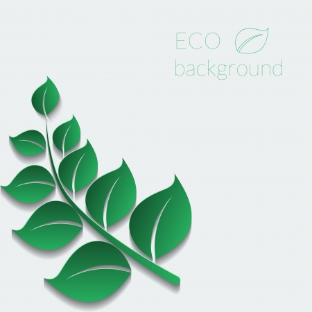 Abstract vector ecological background with natural green branch. Vector illustration. Vector