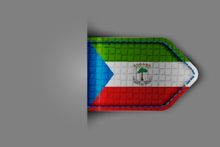 Flag of equatorial Guinea in the form of a glossy textured label or bookmark. Vector illustration. Vector