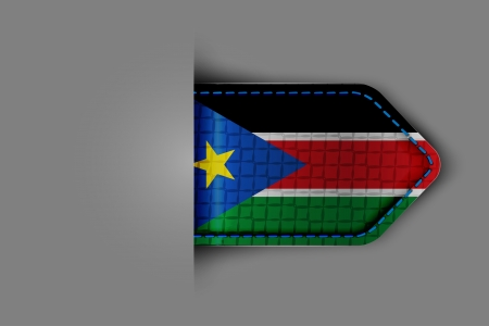 Flag of South Sudan in the form of a glossy textured label or bookmark. Vector illustration. Vector