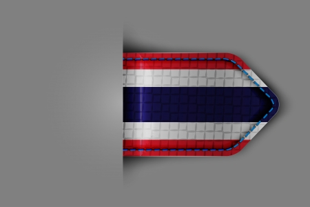 Flag of Thailand in the form of a glossy textured label or bookmark. Vector illustration. Vector