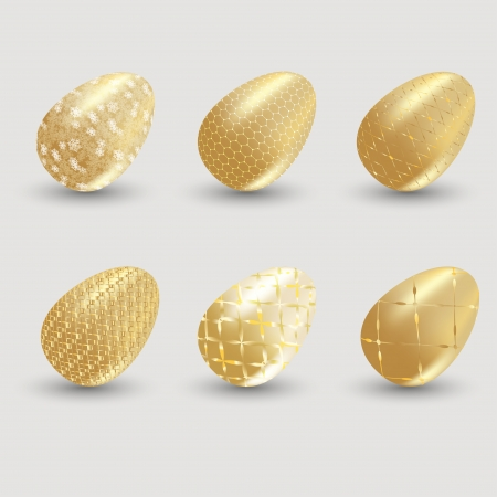 Golden easter eggs with shadow on gray background.  Vector