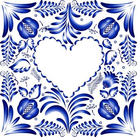 Flower frame in the form of heart. Styling Gzhel. Vector illustration. Vector