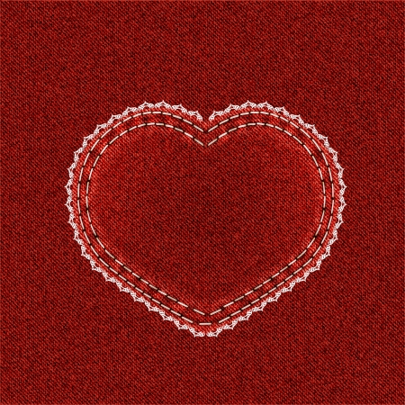 Valentine background  Red denim heart with lace on jeans background  Vector illustration  Vector