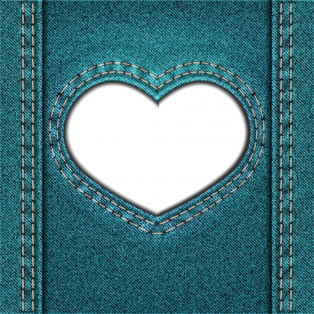 Frame as heart of blue denim fabric. Valentine background. Vector illustration. Vector