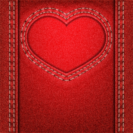 Frame as heart of red denim fabric. Valentine background. Vector illustration. Vector