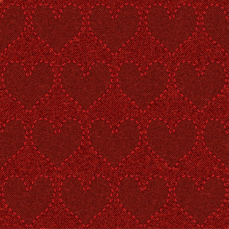 Seamless pattern with red denim embroidered hearts. Background for Valentine's Day. Vector illustration. Vector