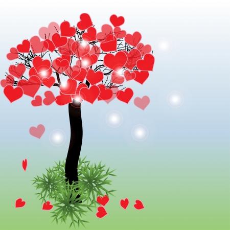 Rbol con los corazones. Fondo del día de San Valentín o tarjeta de felicitación. Ilustración del vector. Foto de archivo - 25250123