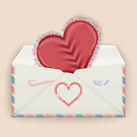dl: Valentine background  Realistic envelope with attached lace heart  Vector illustration
